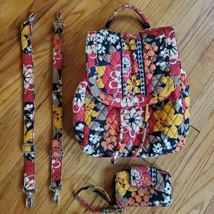 Vera Bradley Small Backpack and Matching Wristlet